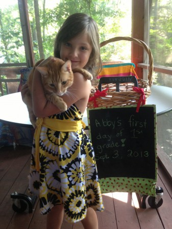 Abby and Tigger, first day of school